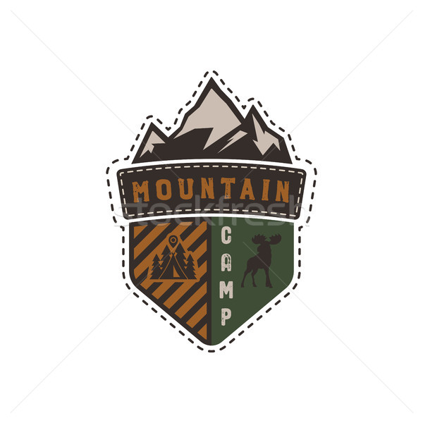 Traveling, outdoor badge. Mountain camp camp emblem. Vintage hand drawn design. Retro colors palette Stock photo © JeksonGraphics