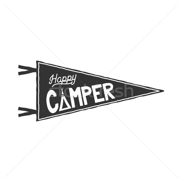 Happy camper pennant template. Typography design and outdoor activity symbol - tent. Monochrome. iso Stock photo © JeksonGraphics