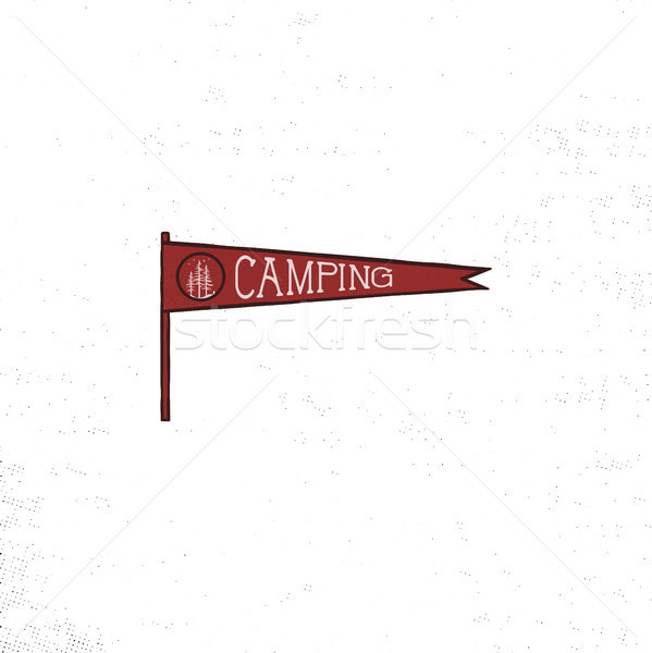 Camping pennant template. Vintage Hand drawn pennant in retro colors design. Best for t-shirts, trav Stock photo © JeksonGraphics
