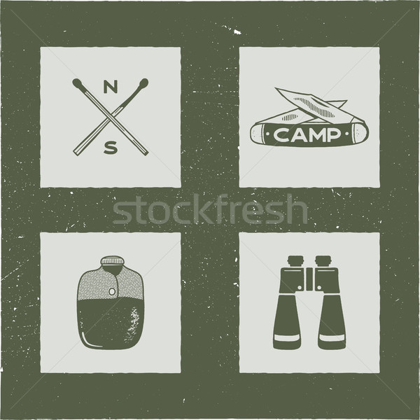 Set of 4 camping silhouette icons and symbols. Hiking equipment elements - matches, knifes, flask, b Stock photo © JeksonGraphics