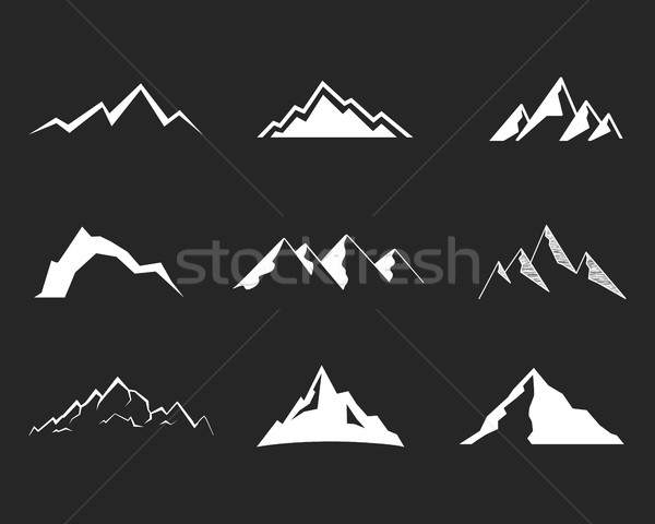 Set of mountain silhouette elements. Outdoor icon. Hand drawn snow ice mountain tops, decorative sym Stock photo © JeksonGraphics
