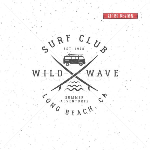 Foto stock: Establecer · vintage · surf · gráficos · emblema · diseno · web
