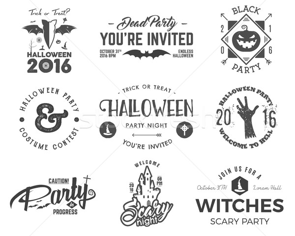 Halloween 2016 party label templates with scary symbols - zombie hand, witch hat, bat, pumpkin and t Stock photo © JeksonGraphics