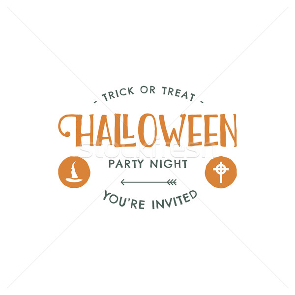 Halloween party label template with hat and typography elements. Vector letters. Retro grunge patch  Stock photo © JeksonGraphics