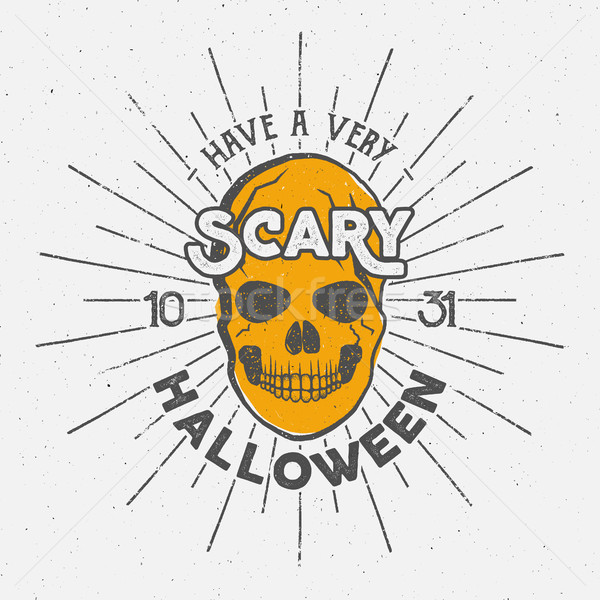 Halloween 2016 party label template with skull, sun bursts and typography elements. Vector text with Stock photo © JeksonGraphics