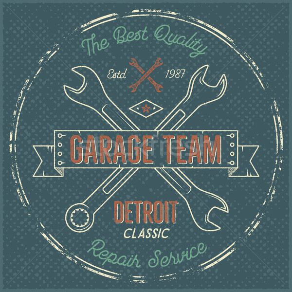 Garage service vintage label, tee design. Detroit classic, repair service typography print. T-shirt  Stock photo © JeksonGraphics