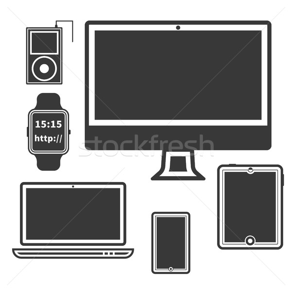 Flat Design Silhouette Devices. PC, tablet, mobile, watch, smartphone, portable music player Isolate Stock photo © JeksonGraphics