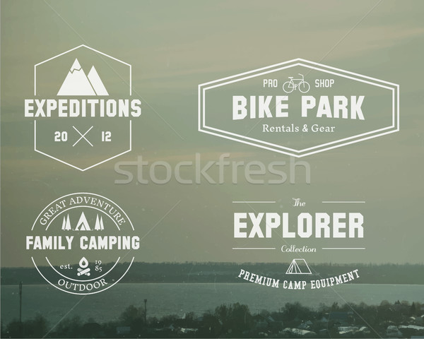 Set of Summer explorer, family camp badge, logo and label templates. Travel, hiking, biking style. O Stock photo © JeksonGraphics