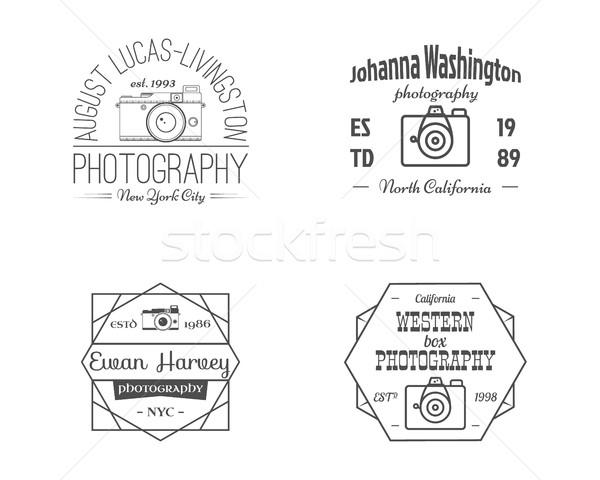 Vintage линия фотографии жетоны Этикетки монохромный Сток-фото © JeksonGraphics