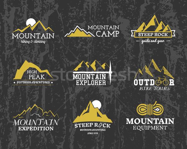 Set of Summer winter mountain explorer camp badge, logo and label templates. Travel, hiking, climbin Stock photo © JeksonGraphics