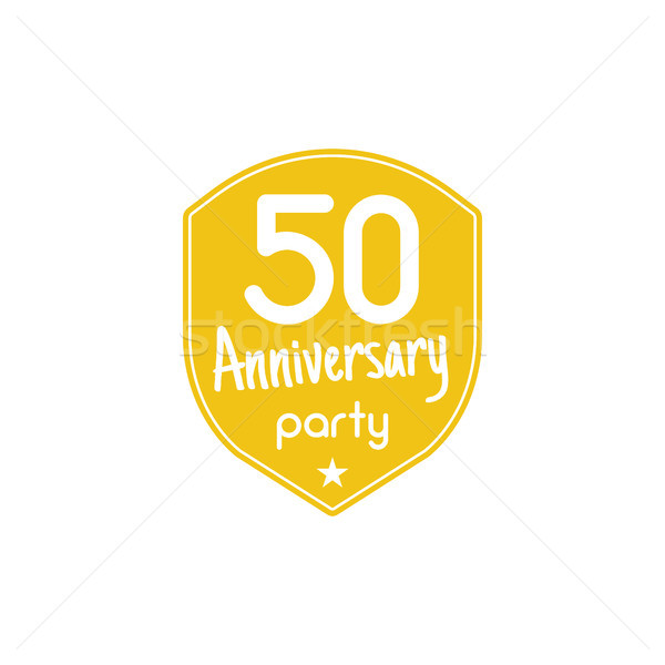 50 éves évforduló buli kitűző felirat embléma Stock fotó © JeksonGraphics