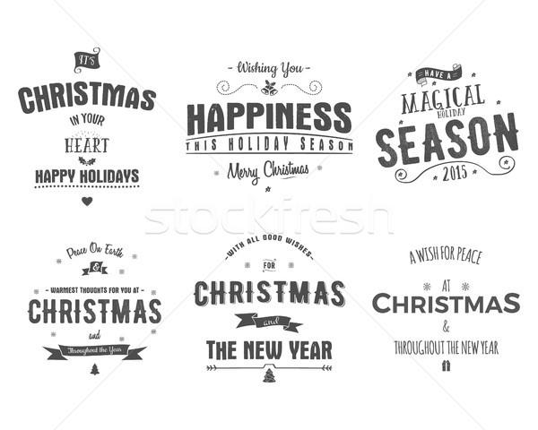 Wesoły christmas kolekcja życzenia Zdjęcia stock © JeksonGraphics