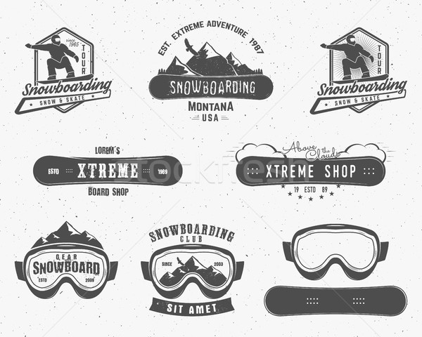 Set of Snowboarding extreme logo, label templates. Winter snowboard sport store badge. Emblem, icon. Stock photo © JeksonGraphics