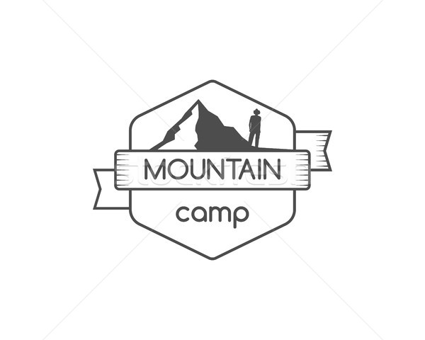 Vintage mountain camping badge, outdoor logo, emblem and label. Hiking concept, monochrome design. B Stock photo © JeksonGraphics