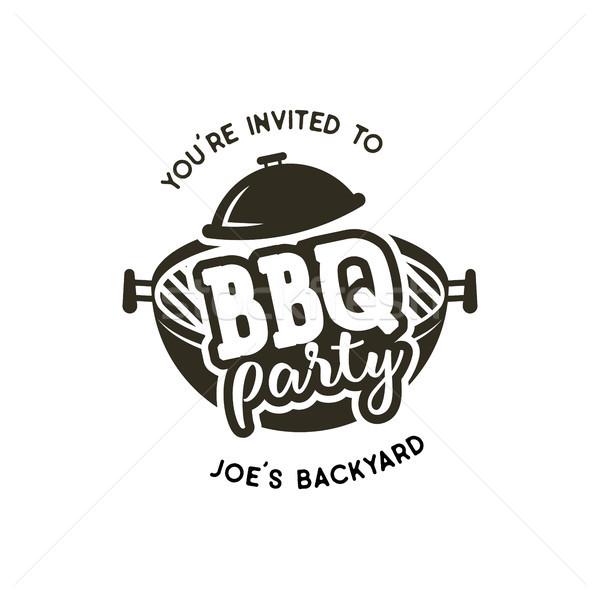 BBQ strony etykiety monochromatyczny stylu zaproszenie Zdjęcia stock © JeksonGraphics