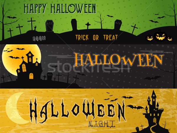 Three Halloween landscape banners. Green, dark and orange designs. Can be use on web, print. As invi Stock photo © JeksonGraphics