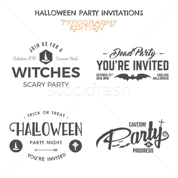 Halloween 2016 party invitation label templates with holiday symbols - witch hat, bat and typography Stock photo © JeksonGraphics