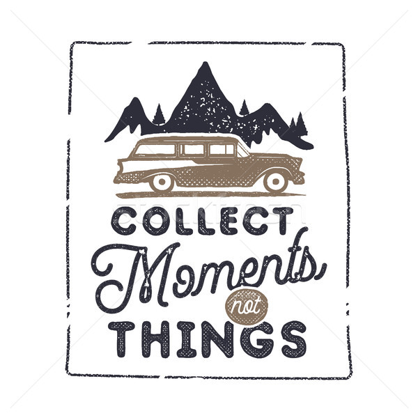 Summer inspirational badge design. Vintage hand drawn label. Collect moments not things sign. Includ Stock photo © JeksonGraphics