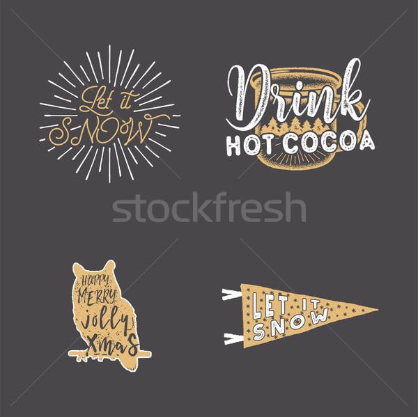 Merry Christmas typography quotes, wishes set. Sunbursts, ribbon and xmas noel elements, icons. New  Stock photo © JeksonGraphics