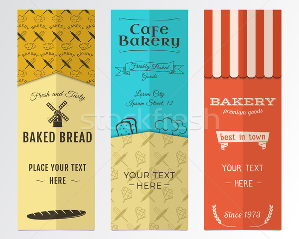 Bakery shop and cafe vertical banners collection. Banner set with fresh bread, windmill icons, logos Stock photo © JeksonGraphics
