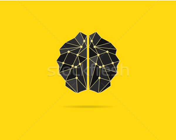 Brainstorm template, brain icon, idea poster template and elements. Brain vector concept. Brochure d Stock photo © JeksonGraphics