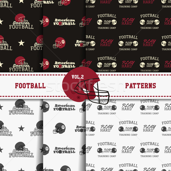 Stock photo: Set of american football patterns. Usa sports seamless background collection. Sport wallpaper with h
