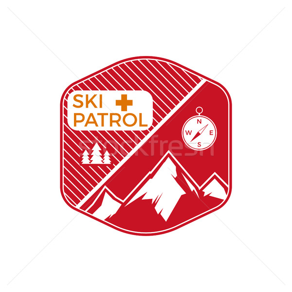 Ski Patrol Label. Vintage Mountain winter sports explorer badge. Outdoor adventure logo design. Trav Stock photo © JeksonGraphics