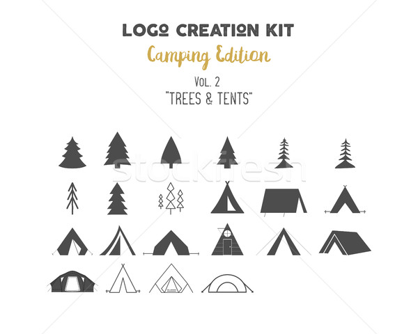 Photo stock: Logo · création · camping · arbres