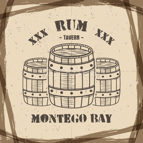 Stock photo: Vintage handcrafted poster template with old barrels and vector sign - rum, montego bay. Sketching f