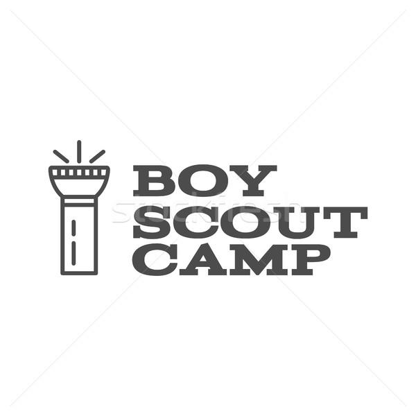 Menino escoteiro acampamento design de logotipo tipografia viajar Foto stock © JeksonGraphics