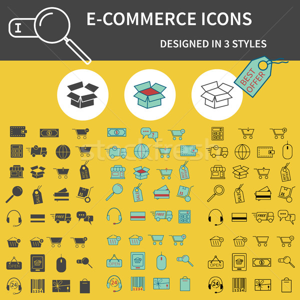 Set of E Commerce Icons Stock photo © JeksonGraphics