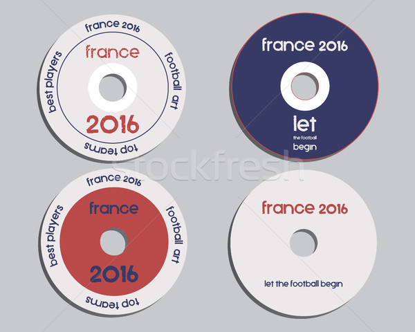 Brand identity elements - CD, DVD templates. sign, icon. Compact, disc, symbol. France 2016 Football Stock photo © JeksonGraphics