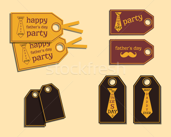 Happy Fathers Day stickers template with mustache and tie. Best for thematic party. Isolated on brig Stock photo © JeksonGraphics
