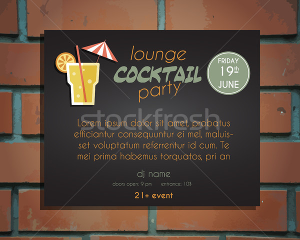Salon cocktail party poster uitnodiging sjabloon schroef Stockfoto © JeksonGraphics