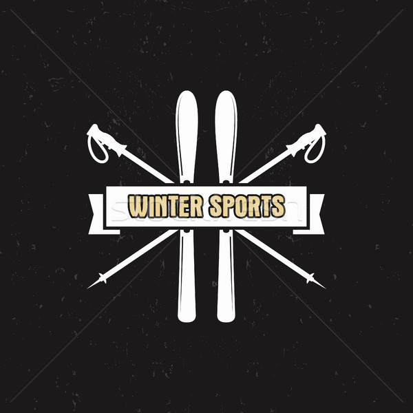Winter Sports Label with ski equipment and ribbon, text. Vintage extreme adventure badge. Outdoors l Stock photo © JeksonGraphics