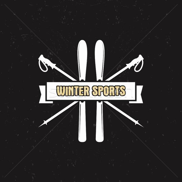 Kış spor etiket Kayak şerit Stok fotoğraf © JeksonGraphics