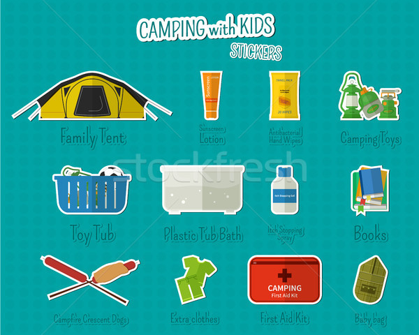 Camping with kids stickers and labels. Set of flat adventure traveling elements and symbols with tex Stock photo © JeksonGraphics
