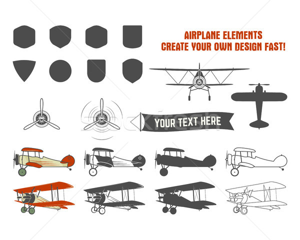 Stock photo: Vintage airplane symbols. Biplane graphic labels. Retro Plane badges, design elements. Aviation stam