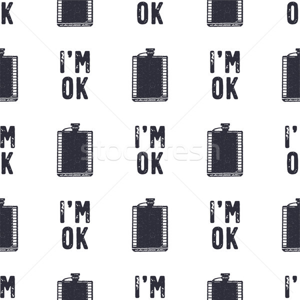 Vintage hand drawn funny pattern design. Seamless wallpaper with flask, typography sign - I'm OK. Mo Stock photo © JeksonGraphics
