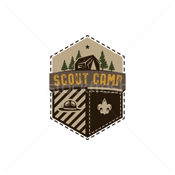 Foto stock: Ao · ar · livre · distintivo · escoteiro · acampamento · emblema
