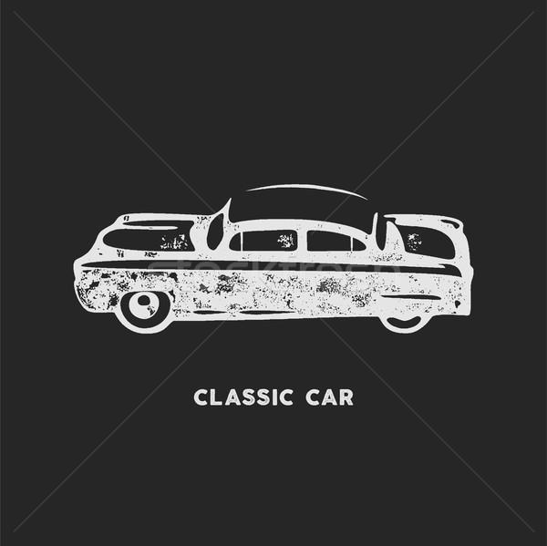 Jahrgang Hand gezeichnet Auto Retro Symbol Design Stock foto © JeksonGraphics