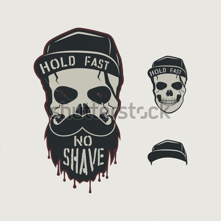 Skull character with blood stains, cap. Vintage hand drawn street style. Urban city attributes. No s Stock photo © JeksonGraphics