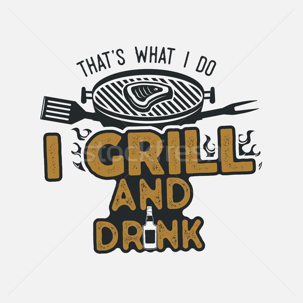 Mi ital grill dolgok retro BBQ Stock fotó © JeksonGraphics