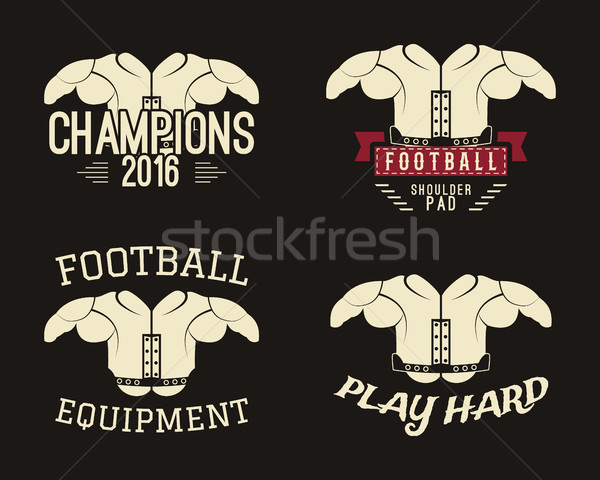 Collection of shoulder pads labels, stamps, logos, motivation insignias. Protective equipment used i Stock photo © JeksonGraphics