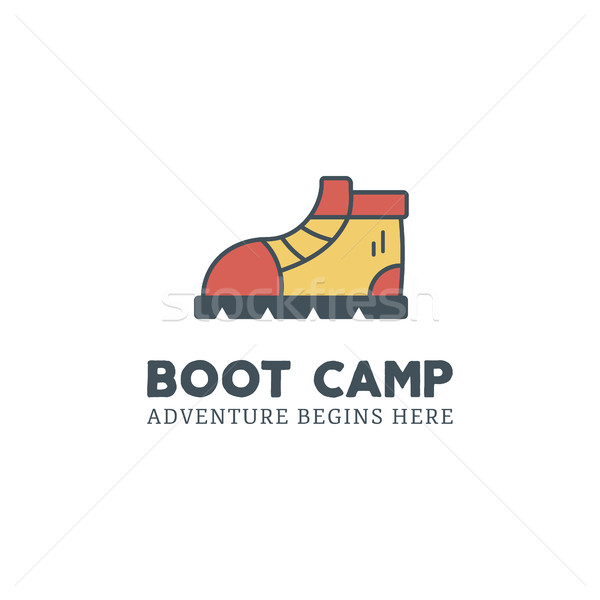 Camping logo design with typography and travel elements - camp mug. text - happiness is camping. Bac Stock photo © JeksonGraphics