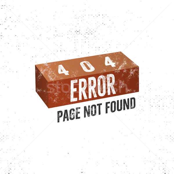404 error page concept with brick. Vector concept of 404 error page. Isolate on white background Stock photo © JeksonGraphics