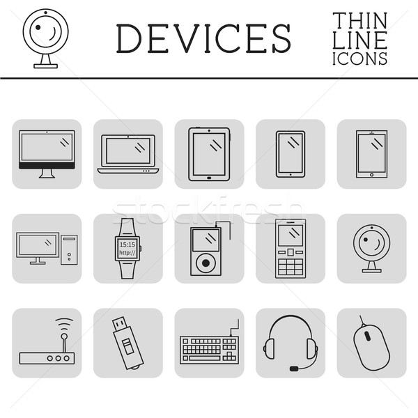Stock photo: Trendy PC, computer, mobile gadgets and device line icons and buttons . Graphic vector symbols and e