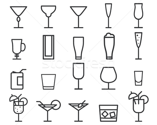 Beverage, drinks thin line symbol icon. Cocktails. Party outline elements isolated on white backgrou Stock photo © JeksonGraphics