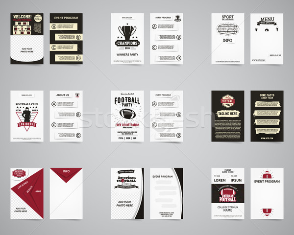 American football brochure set. Flyer templates design collection. Usa Sport brand identity letterhe Stock photo © JeksonGraphics