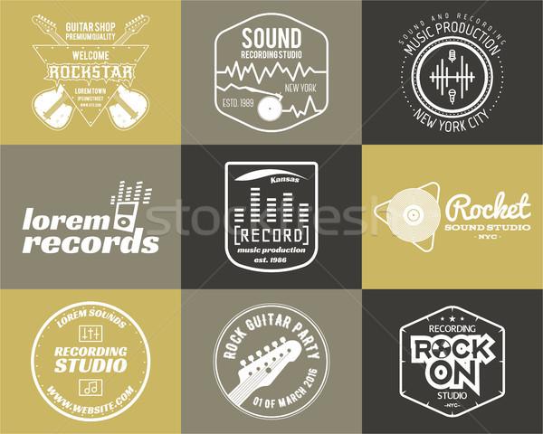 набор музыку производства логотип музыкальный Label Сток-фото © JeksonGraphics